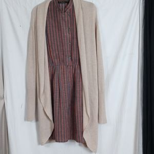 Leith open front duster beige cardigan medium